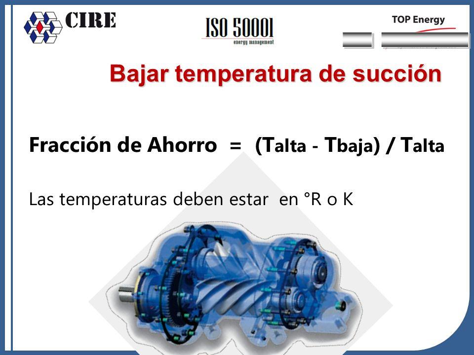 Fracción de Ahorro = (T alta - T baja ) / T alta Las temperaturas deben estar en °R o K Bajar temperatura de succión