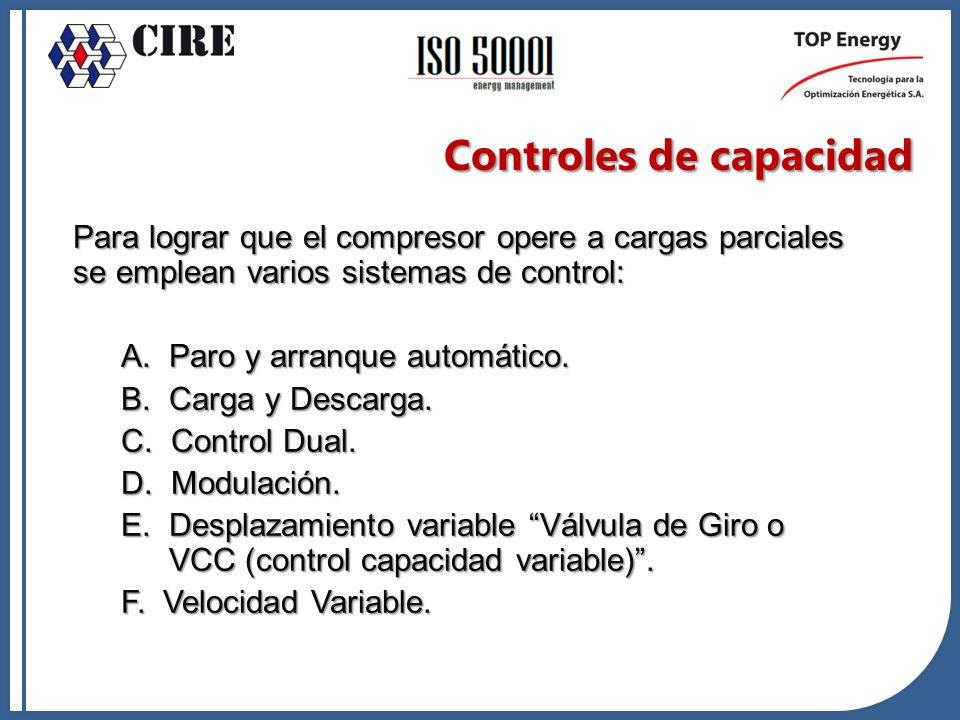 Para lograr que el compresor opere a cargas parciales se emplean varios sistemas de control: A. Paro y arranque automático. B. Carga y Descarga. C. Co