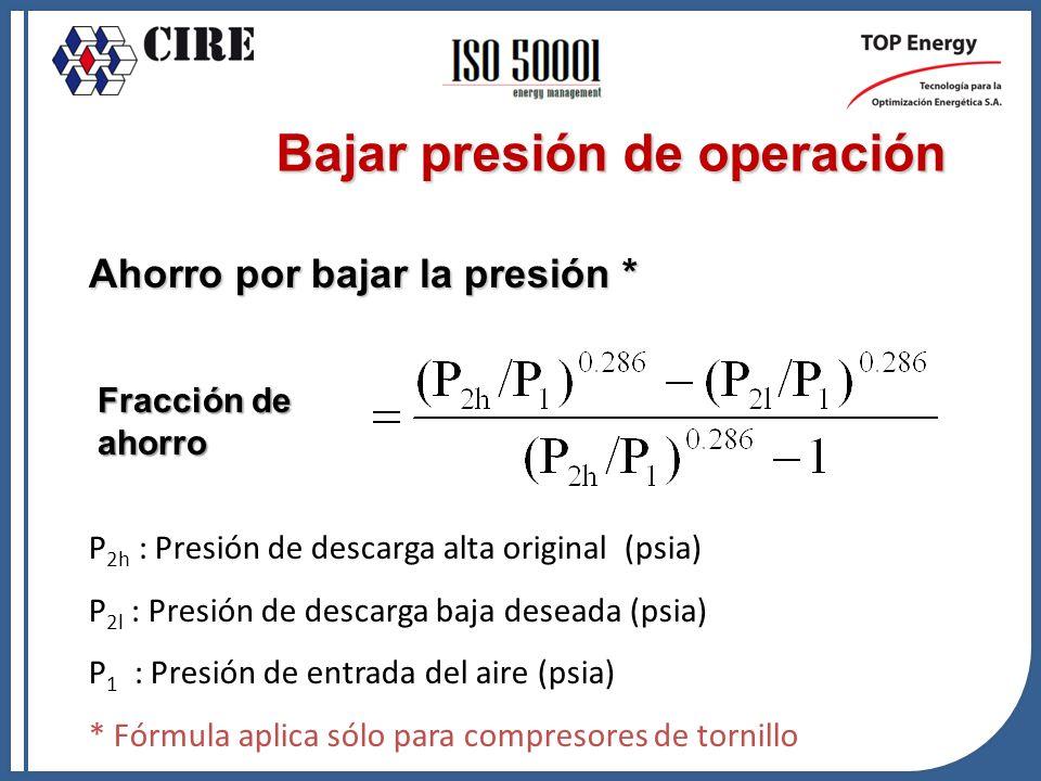 Ahorro por bajar la presión * P 2h : Presión de descarga alta original (psia) P 2l : Presión de descarga baja deseada (psia) P 1 : Presión de entrada