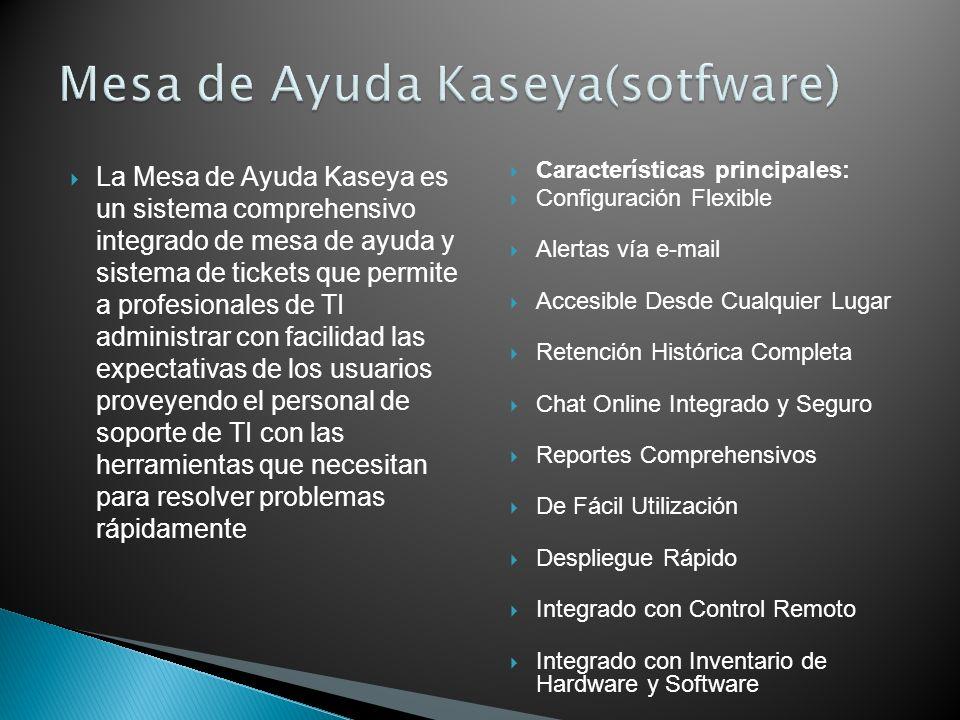 La Mesa de Ayuda Kaseya es un sistema comprehensivo integrado de mesa de ayuda y sistema de tickets que permite a profesionales de TI administrar con