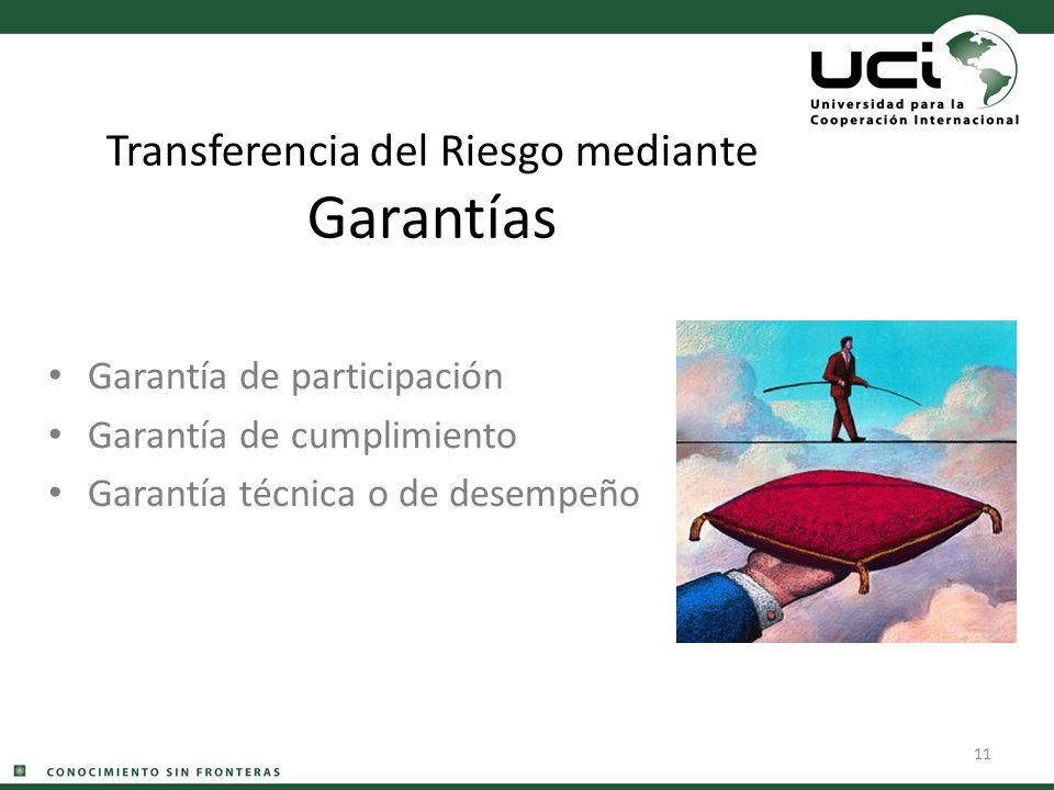 11 Transferencia del Riesgo mediante Garantías Garantía de participación Garantía de cumplimiento Garantía técnica o de desempeño