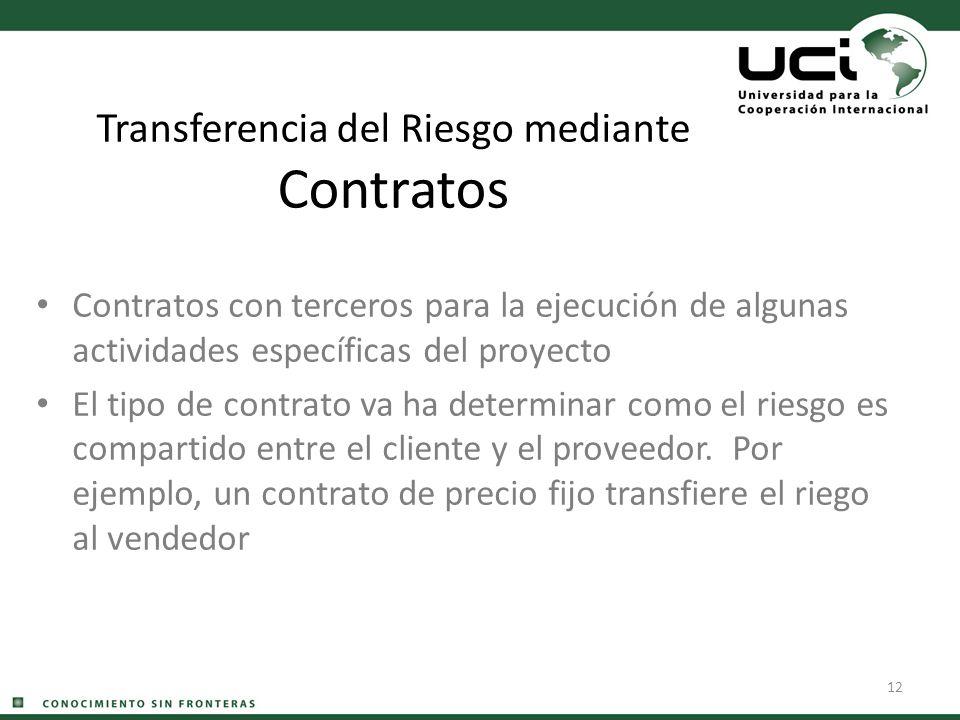 12 Transferencia del Riesgo mediante Contratos Contratos con terceros para la ejecución de algunas actividades específicas del proyecto El tipo de con