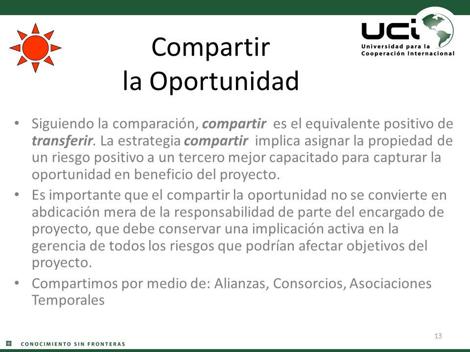 13 Compartir la Oportunidad Siguiendo la comparación, compartir es el equivalente positivo de transferir. La estrategia compartir implica asignar la p