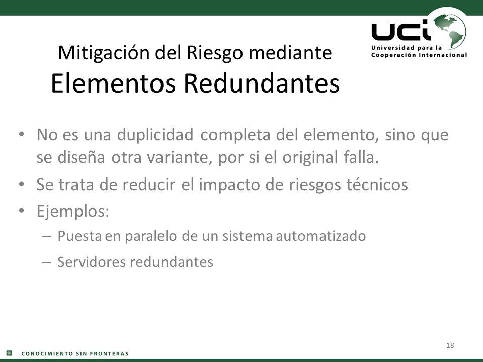 18 Mitigación del Riesgo mediante Elementos Redundantes No es una duplicidad completa del elemento, sino que se diseña otra variante, por si el origin