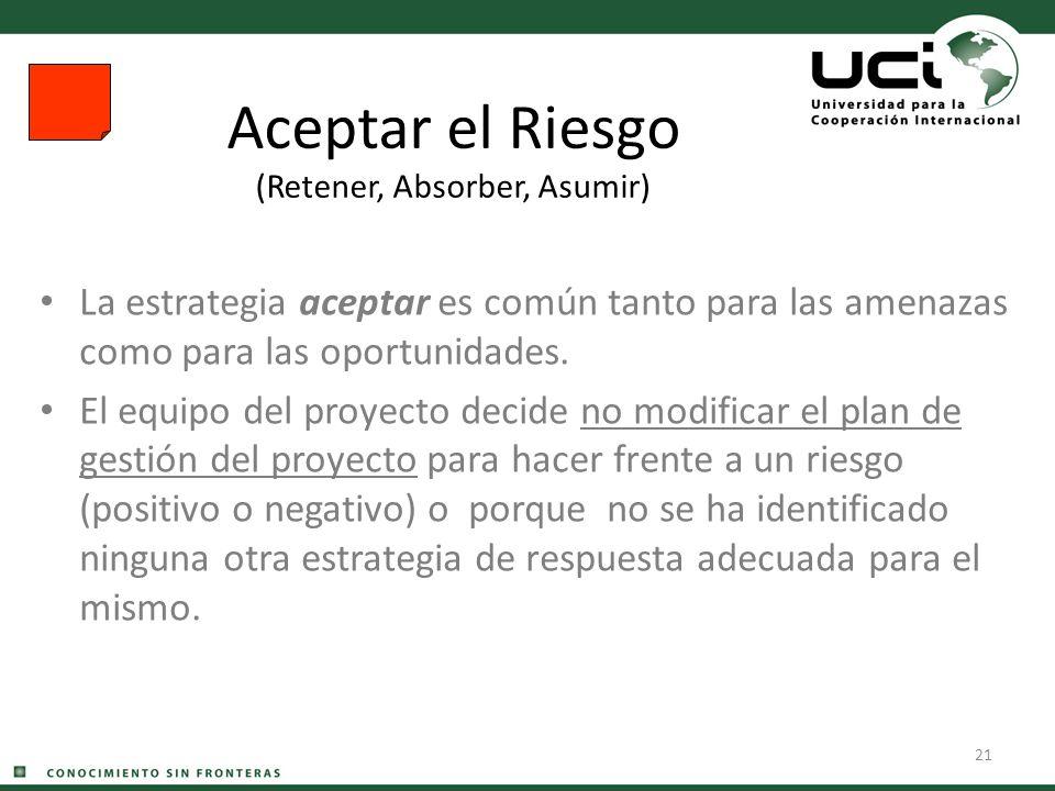 21 Aceptar el Riesgo (Retener, Absorber, Asumir) La estrategia aceptar es común tanto para las amenazas como para las oportunidades. El equipo del pro