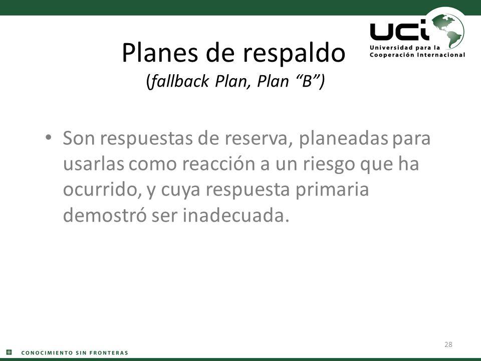 28 Planes de respaldo (fallback Plan, Plan B) Son respuestas de reserva, planeadas para usarlas como reacción a un riesgo que ha ocurrido, y cuya resp