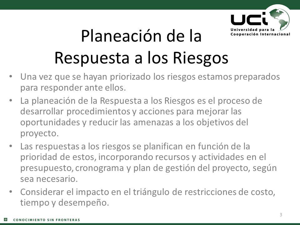 3 Planeación de la Respuesta a los Riesgos Una vez que se hayan priorizado los riesgos estamos preparados para responder ante ellos. La planeación de