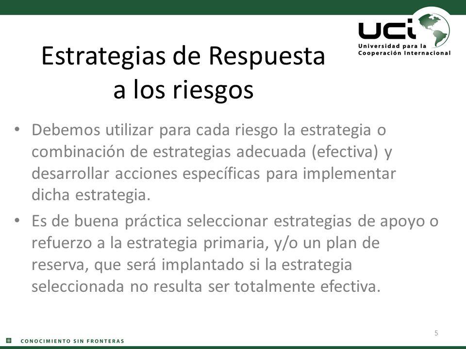 5 Estrategias de Respuesta a los riesgos Debemos utilizar para cada riesgo la estrategia o combinación de estrategias adecuada (efectiva) y desarrolla