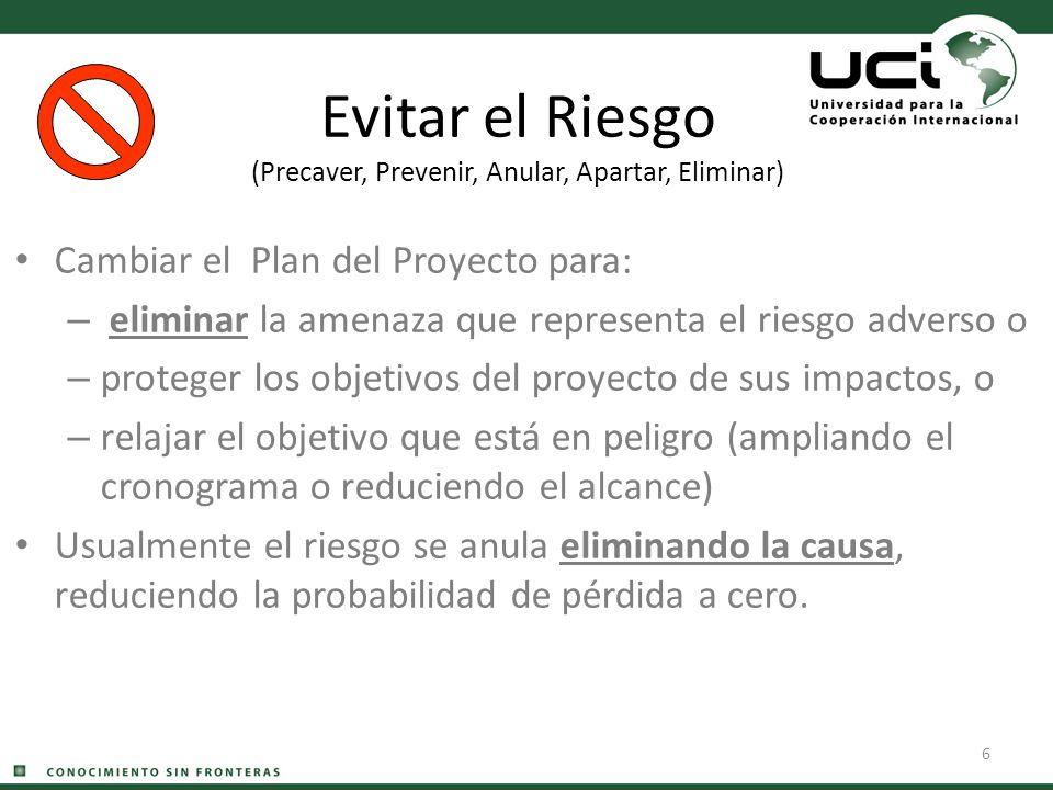 6 Evitar el Riesgo (Precaver, Prevenir, Anular, Apartar, Eliminar) Cambiar el Plan del Proyecto para: – eliminar la amenaza que representa el riesgo a
