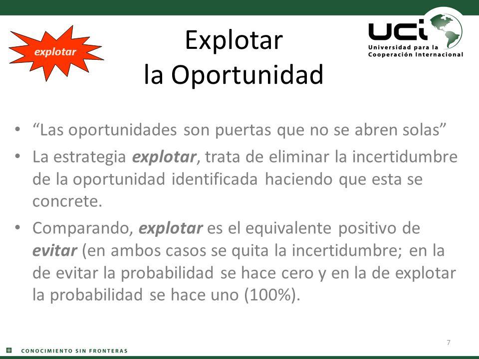 7 Explotar la Oportunidad Las oportunidades son puertas que no se abren solas La estrategia explotar, trata de eliminar la incertidumbre de la oportun