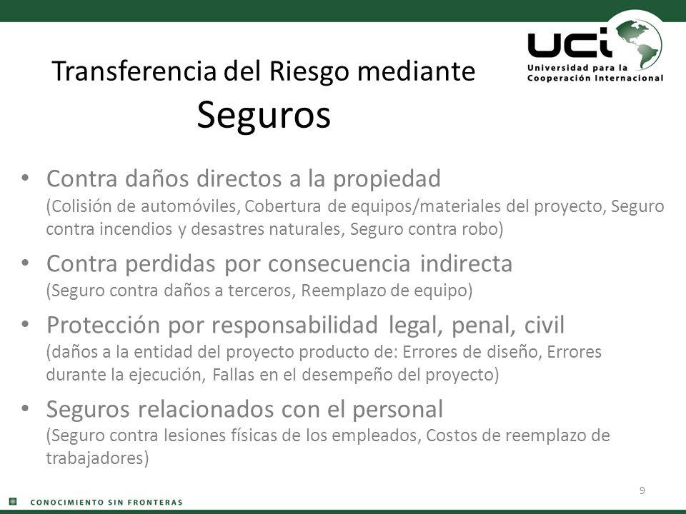 9 Transferencia del Riesgo mediante Seguros Contra daños directos a la propiedad (Colisión de automóviles, Cobertura de equipos/materiales del proyect