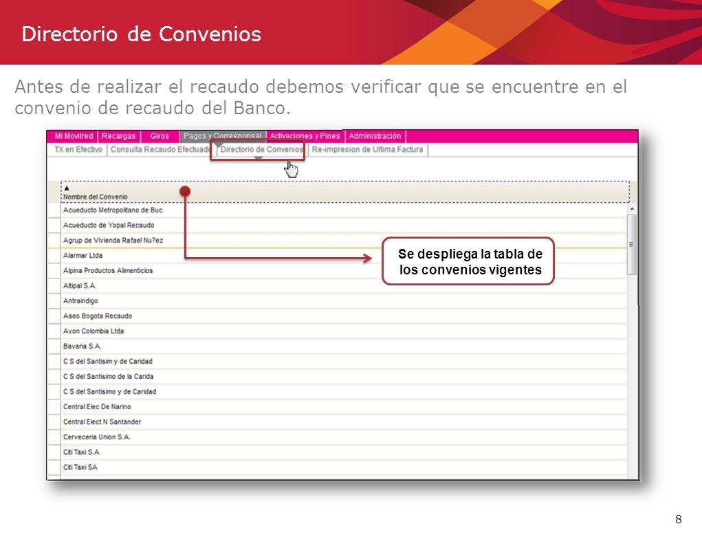8 Antes de realizar el recaudo debemos verificar que se encuentre en el convenio de recaudo del Banco. Directorio de Convenios Se despliega la tabla d