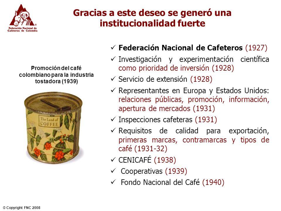 NOVIEMBRE 2004 © Copyright FNC 2008 5 Los cafeteros han enfrentado exitosamente, hasta hoy, amenazas a su sostenibilidad Bajo reconocimiento y diferenciación.
