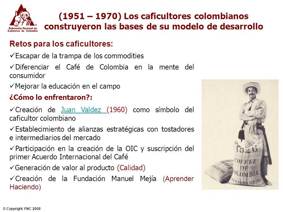 NOVIEMBRE 2004 © Copyright FNC 2008 7 (1971 – 1990) El modelo creado muestra sus bondades Reto para los caficultores: Continuar el camino de la diferenciación en un mercado en evolución Defenderse de las enfermedades del cafeto Mejorar la infraestructura en el campo ¿Cómo lo enfrentaron?: Creación del Programa 100% y la marca ingrediente Café de Colombia Desarrollo de una agresiva campaña para educar, conectar, sorprender y asociar (consumidores) Variedad Colombia resistente a la roya Beneficio Ecológico Mejoramiento de la infraestructura local (1969-2000): 6.107 acueductos construidos 230 mil viviendas Más de 16 mil Km construidos y 86 mil Km mejorados 16 mil aulas nuevas para niños en áreas cafeteras