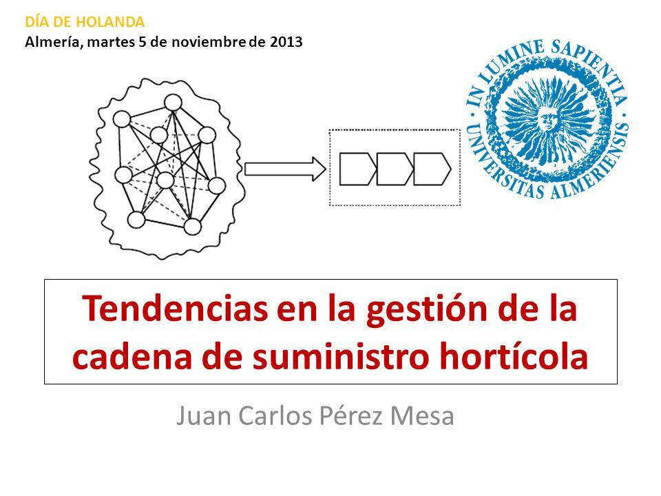 Tendencias en la gestión de la cadena de suministro hortícola Juan Carlos Pérez Mesa DÍA DE HOLANDA Almería, martes 5 de noviembre de 2013