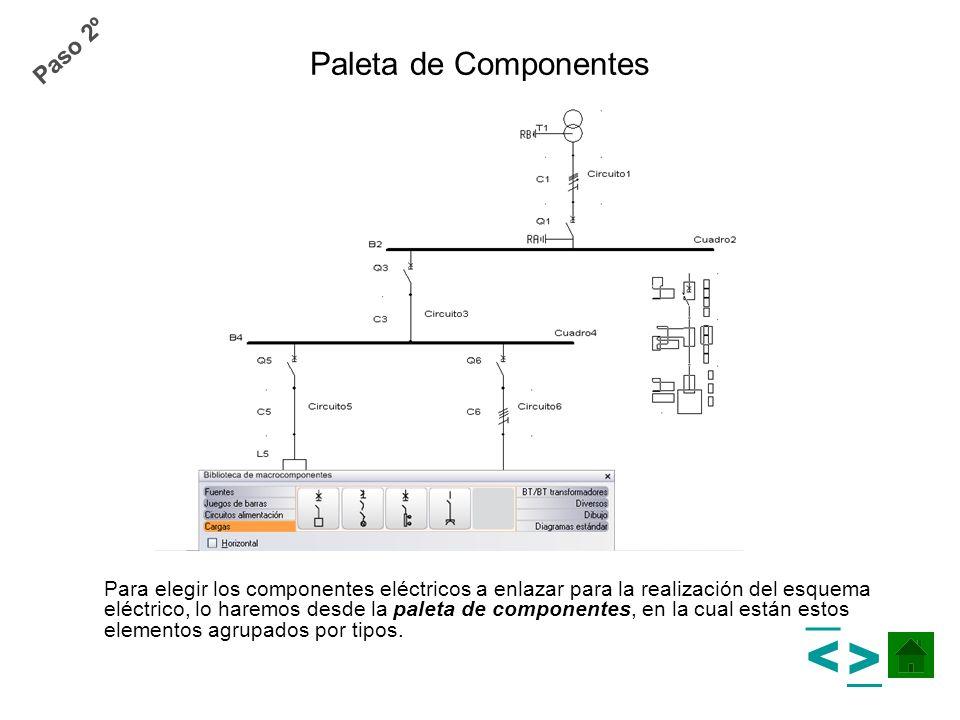 Para elegir los componentes eléctricos a enlazar para la realización del esquema eléctrico, lo haremos desde la paleta de componentes, en la cual está