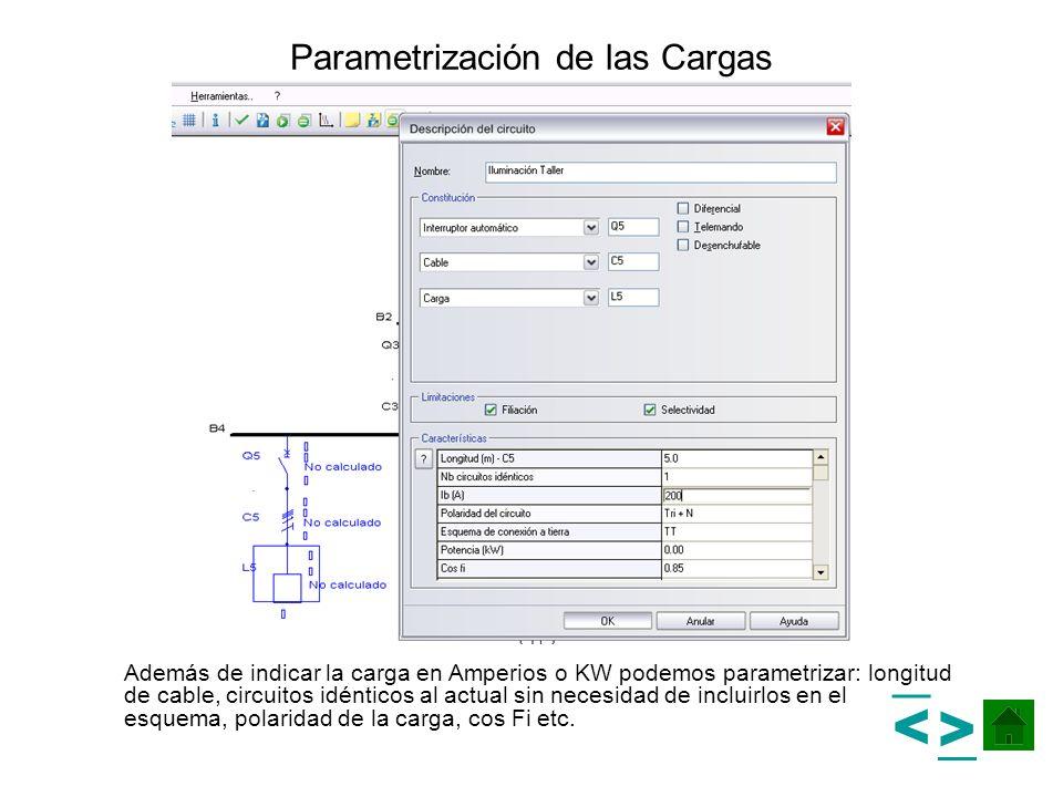 Parametrización de las Cargas Además de indicar la carga en Amperios o KW podemos parametrizar: longitud de cable, circuitos idénticos al actual sin n