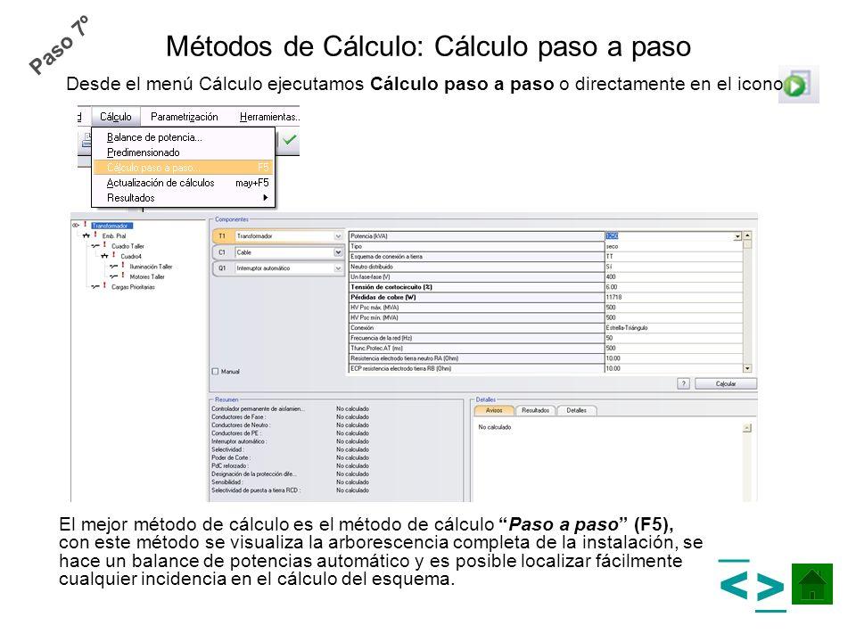 Métodos de Cálculo: Cálculo paso a paso El mejor método de cálculo es el método de cálculo Paso a paso (F5), con este método se visualiza la arboresce