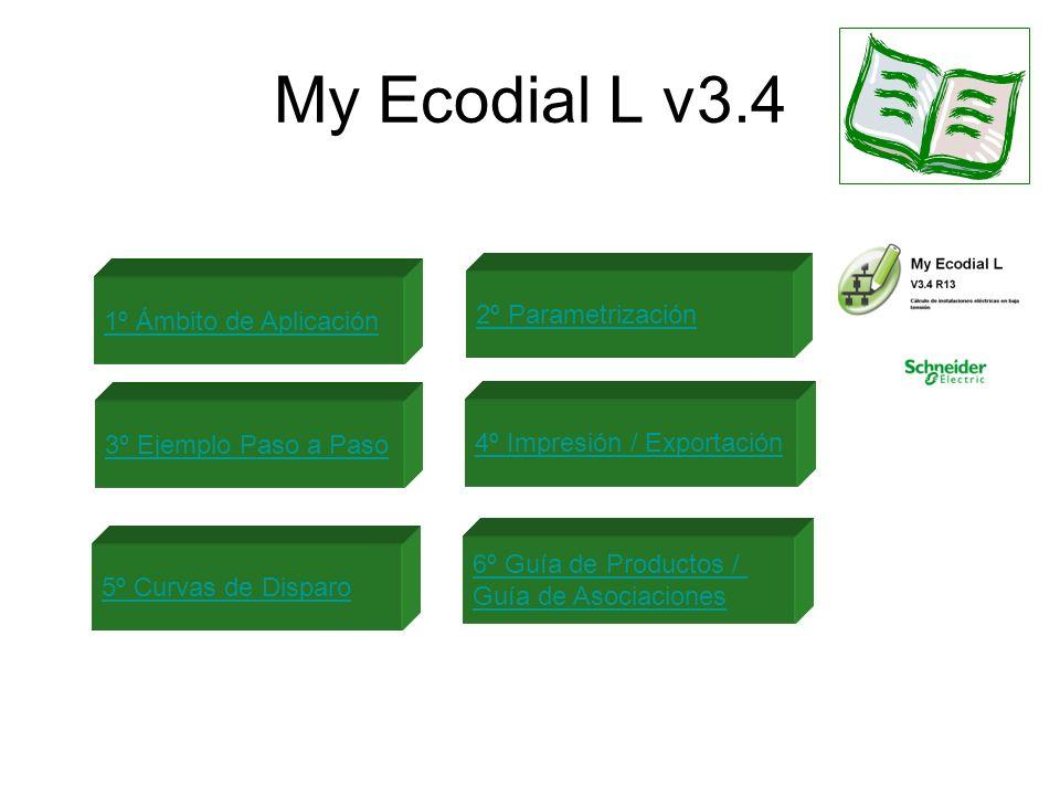 My Ecodial L v3.4 1º Ámbito de Aplicación 2º Parametrización 3º Ejemplo Paso a Paso 4º Impresión / Exportación 5º Curvas de Disparo 6º Guía de Product