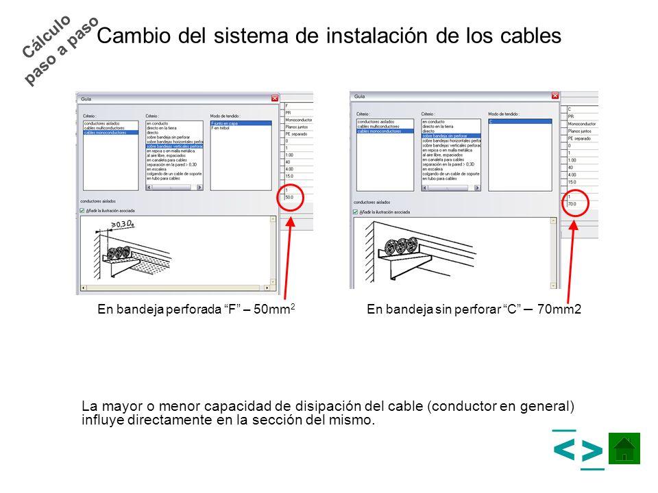 Cambio del sistema de instalación de los cables La mayor o menor capacidad de disipación del cable (conductor en general) influye directamente en la s