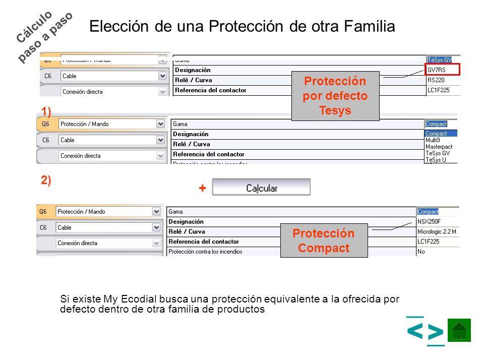 Elección de una Protección de otra Familia Si existe My Ecodial busca una protección equivalente a la ofrecida por defecto dentro de otra familia de p