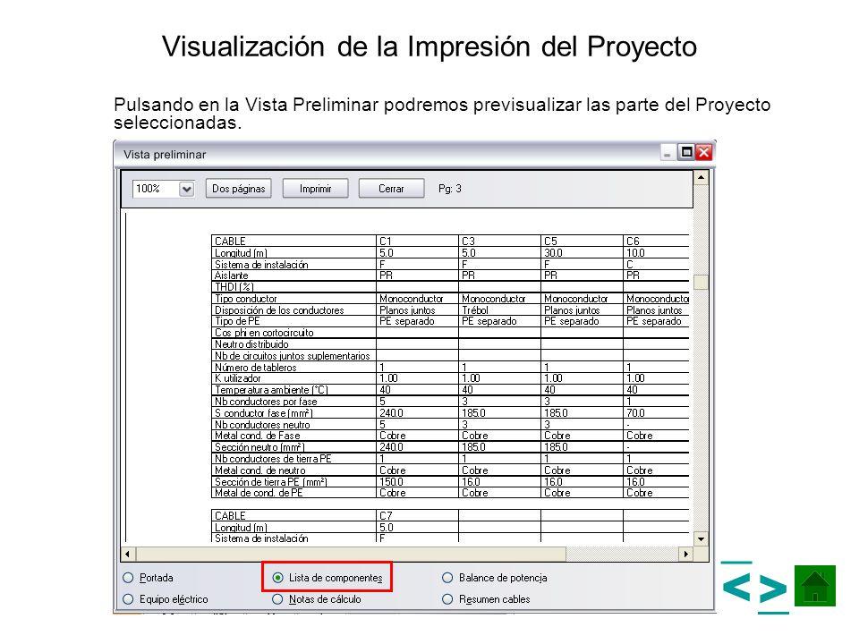 Visualización de la Impresión del Proyecto Pulsando en la Vista Preliminar podremos previsualizar las parte del Proyecto seleccionadas. > >