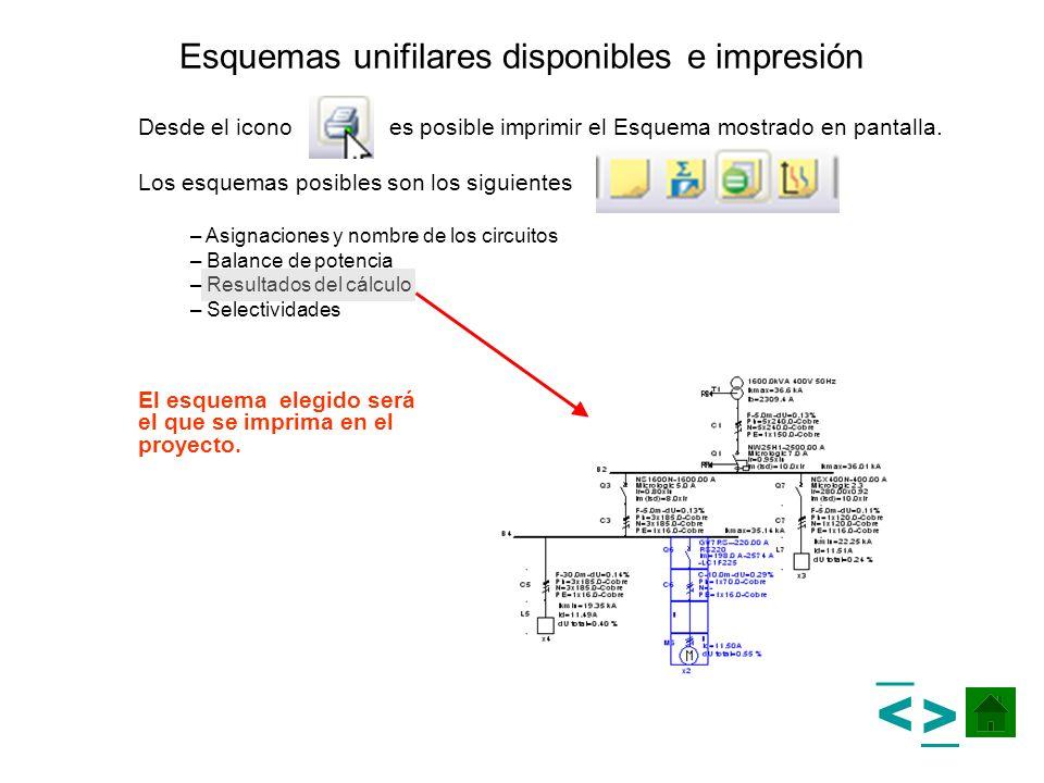 Esquemas unifilares disponibles e impresión Desde el icono es posible imprimir el Esquema mostrado en pantalla. Los esquemas posibles son los siguient