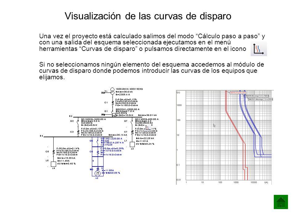 Visualización de las curvas de disparo Una vez el proyecto está calculado salimos del modo Cálculo paso a paso y con una salida del esquema selecciona