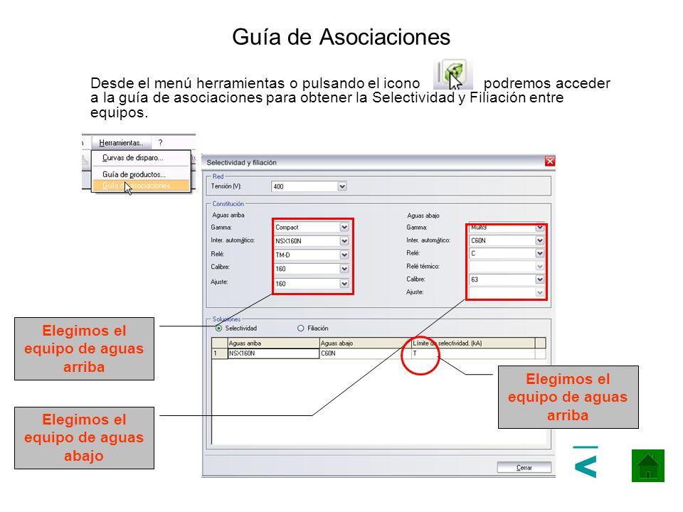 Guía de Asociaciones Desde el menú herramientas o pulsando el icono podremos acceder a la guía de asociaciones para obtener la Selectividad y Filiació