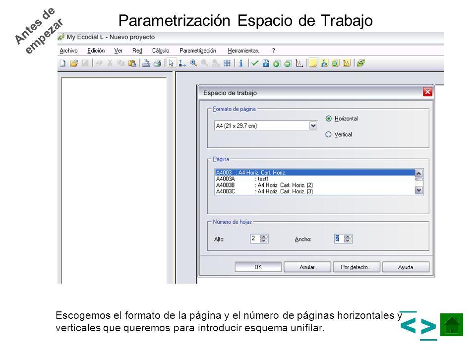Antes de empezar Parametrización Espacio de Trabajo Escogemos el formato de la página y el número de páginas horizontales y verticales que queremos pa