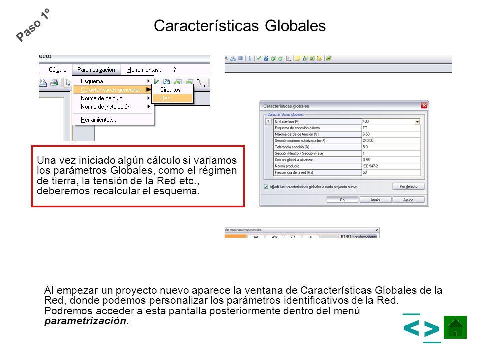 Características Globales Al empezar un proyecto nuevo aparece la ventana de Características Globales de la Red, donde podemos personalizar los parámet
