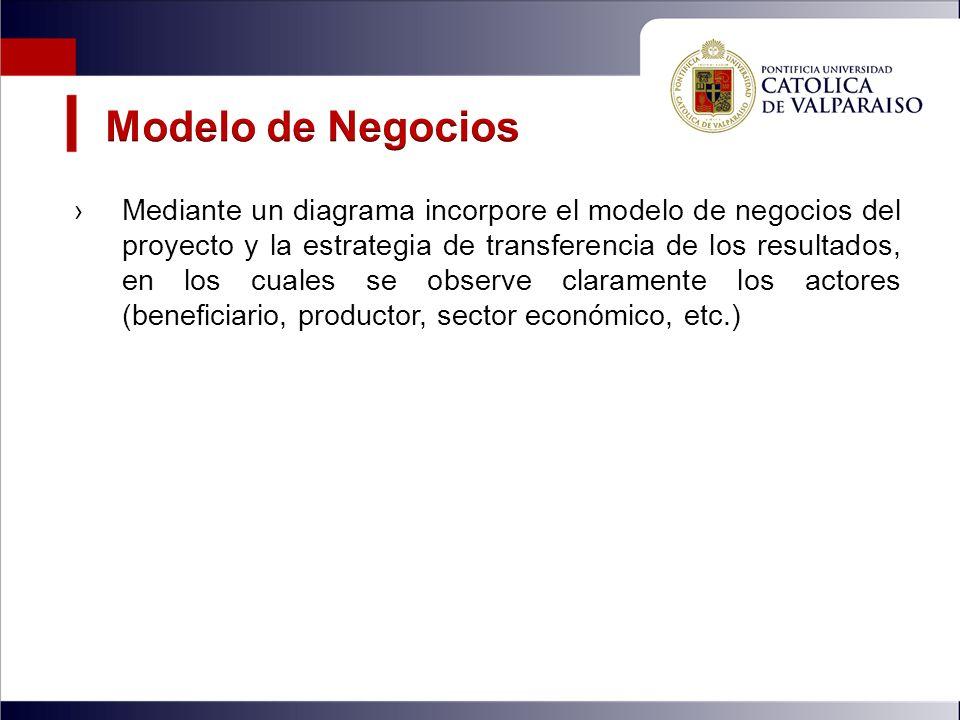 Mediante un diagrama incorpore el modelo de negocios del proyecto y la estrategia de transferencia de los resultados, en los cuales se observe claramente los actores (beneficiario, productor, sector económico, etc.)