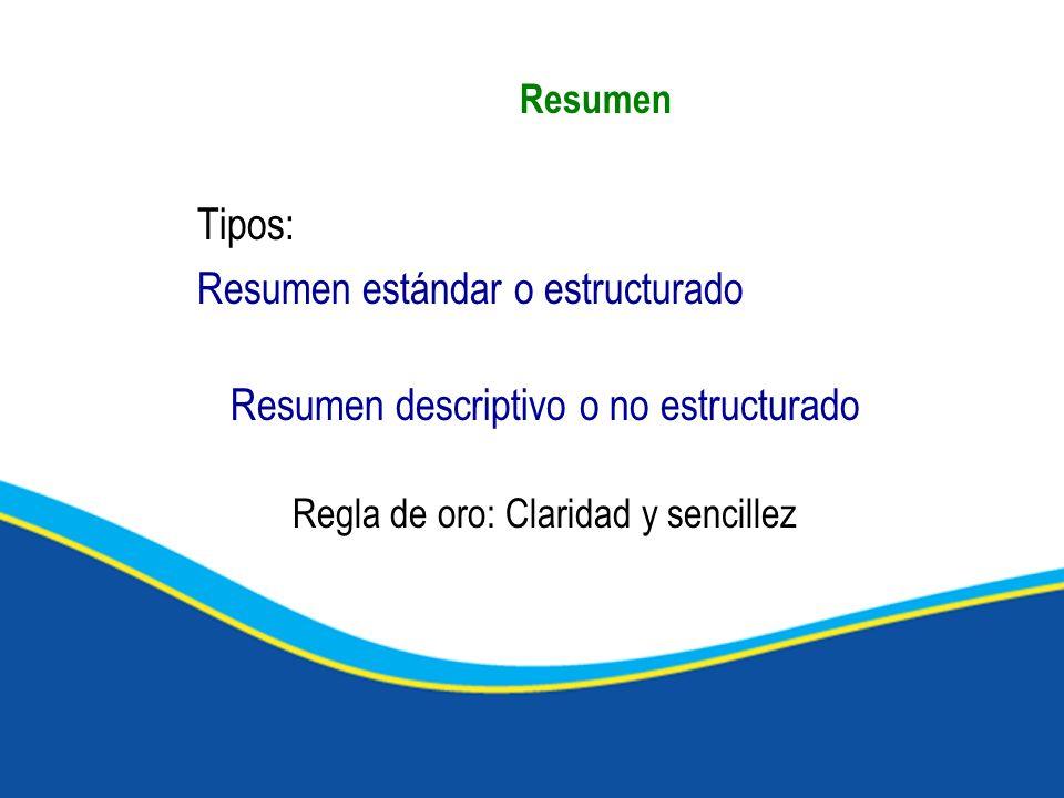 Resumen Tipos: Resumen estándar o estructurado Resumen descriptivo o no estructurado Regla de oro: Claridad y sencillez