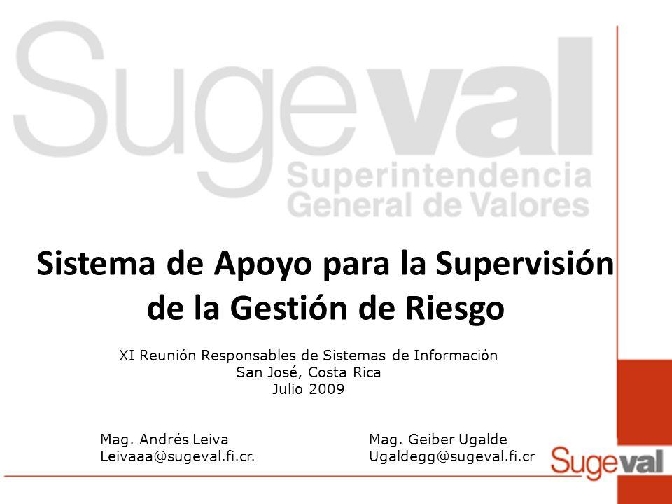 Sistema de Apoyo para la Supervisión de la Gestión de Riesgo XI Reunión Responsables de Sistemas de Información San José, Costa Rica Julio 2009 Mag. A