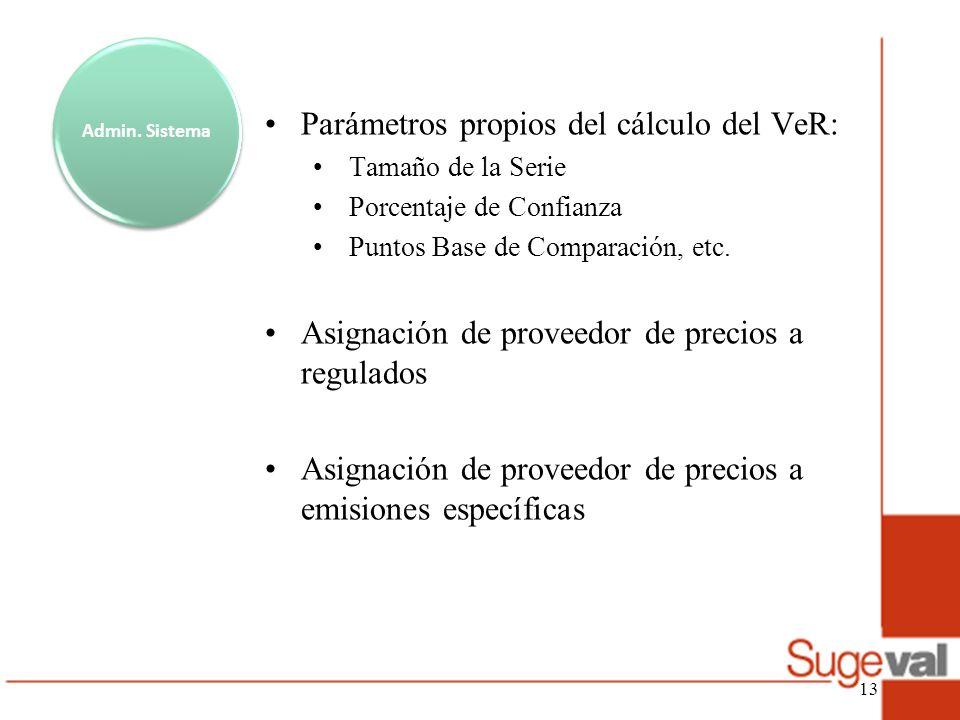 Admin. Sistema Parámetros propios del cálculo del VeR: Tamaño de la Serie Porcentaje de Confianza Puntos Base de Comparación, etc. Asignación de prove