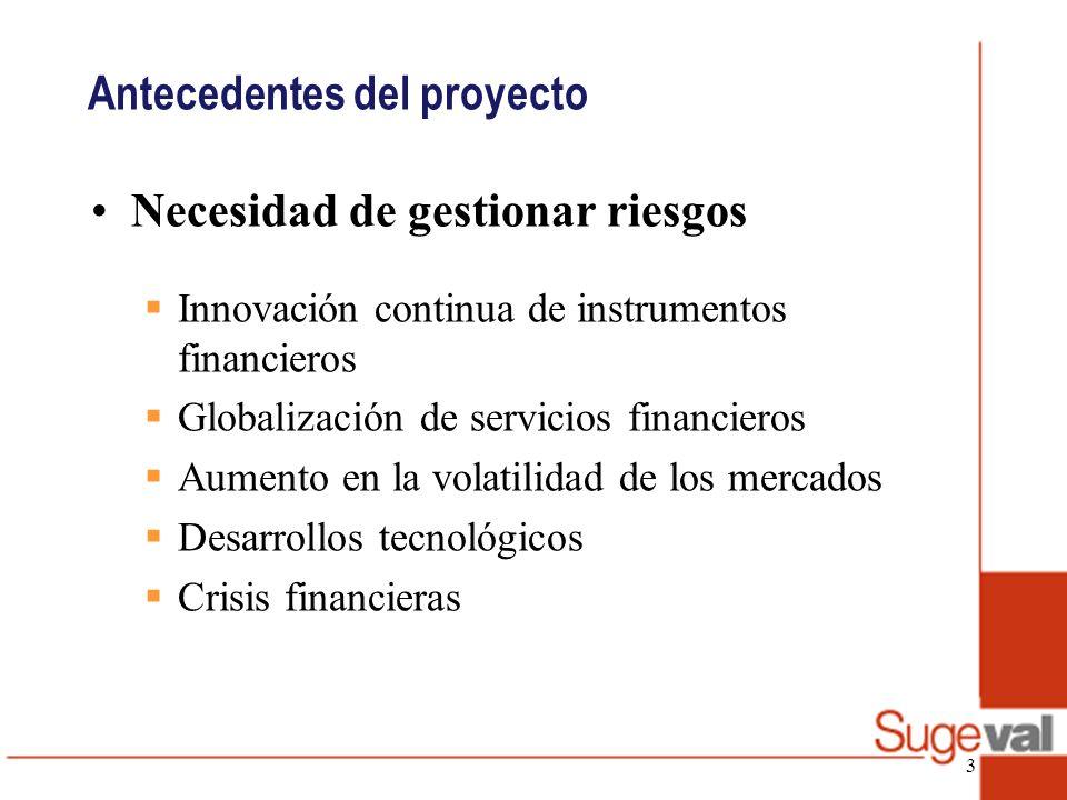 Antecedentes del proyecto Reglamento de gestión de riesgos (rige a partir del 27 de febrero del 2009) Objetivos: Definir estructura para la gestión de riesgos Requerir capital para la cobertura de riesgos Limitar actividades que puedan crear riesgos sistémicos en el mercado.