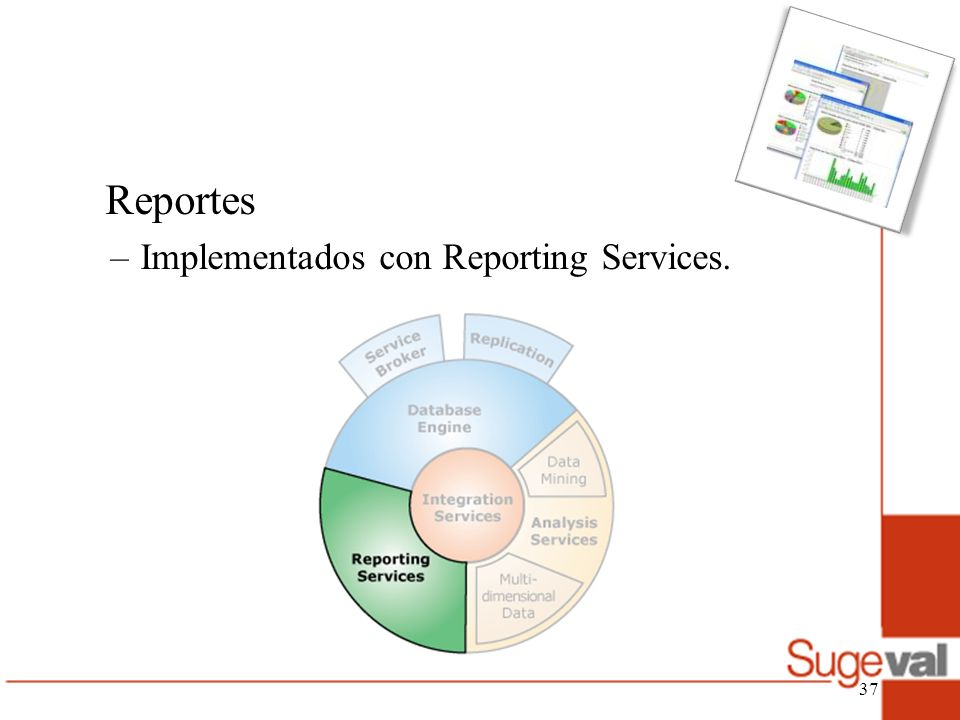 Reportes –Implementados con Reporting Services. 37