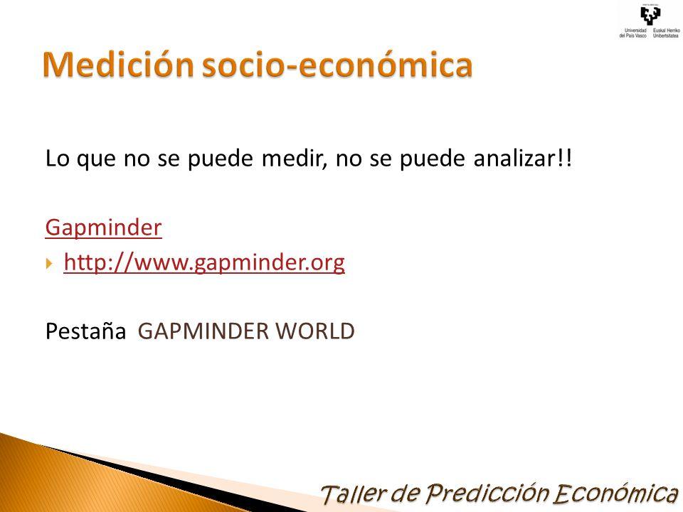 Lo que no se puede medir, no se puede analizar!! Gapminder http://www.gapminder.org Pestaña GAPMINDER WORLD