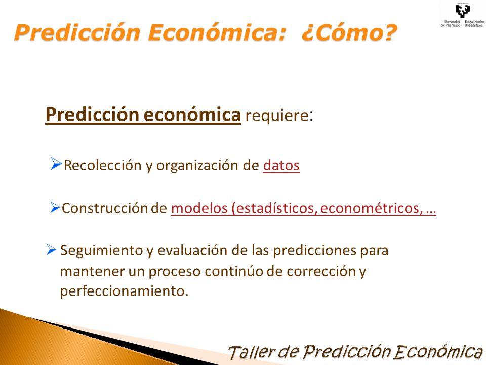 Predicción económica requiere : Recolección y organización de datosdatos Construcción de modelos (estadísticos, econométricos, …modelos (estadísticos,