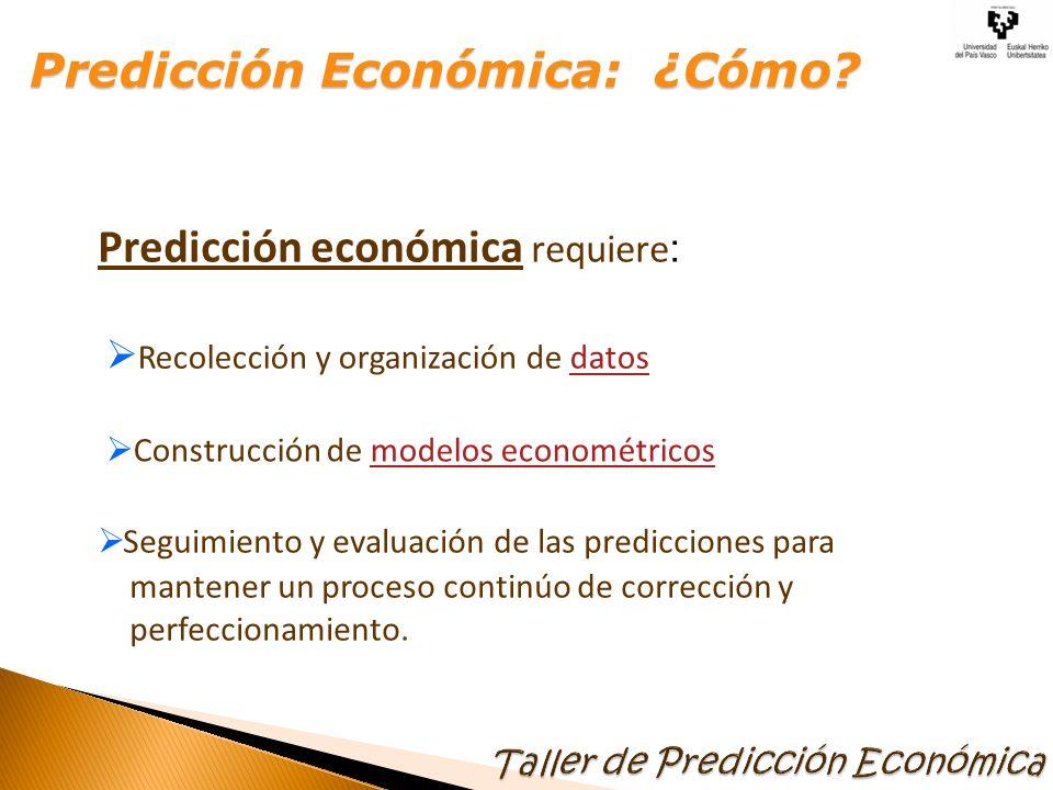 Predicción económica requiere : Recolección y organización de datosdatos Construcción de modelos econométricosmodelos econométricos Seguimiento y evaluación de las predicciones para mantener un proceso continúo de corrección y perfeccionamiento.