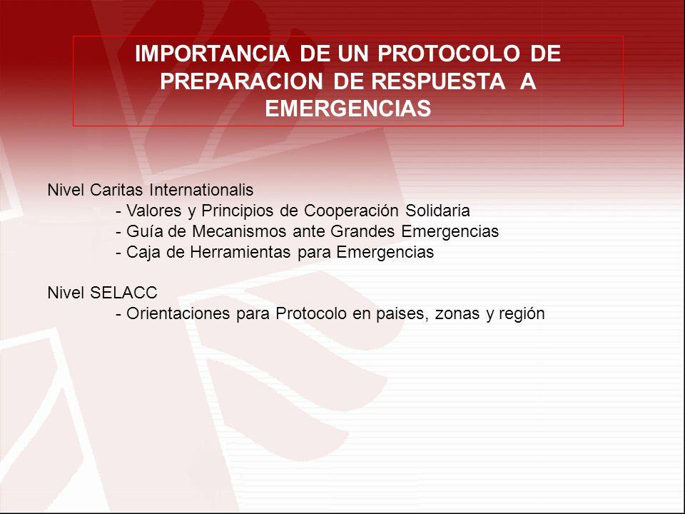 IMPORTANCIA DE UN PROTOCOLO DE PREPARACION DE RESPUESTA A EMERGENCIAS Nivel Caritas Internationalis - Valores y Principios de Cooperación Solidaria -