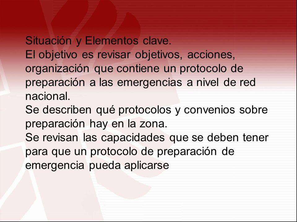 Situación y Elementos clave. El objetivo es revisar objetivos, acciones, organización que contiene un protocolo de preparación a las emergencias a niv
