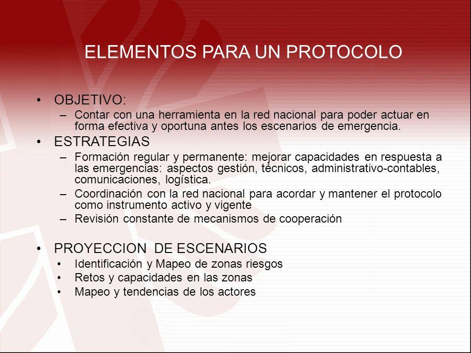 ELEMENTOS PARA UN PROTOCOLO OBJETIVO: –Contar con una herramienta en la red nacional para poder actuar en forma efectiva y oportuna antes los escenarios de emergencia.