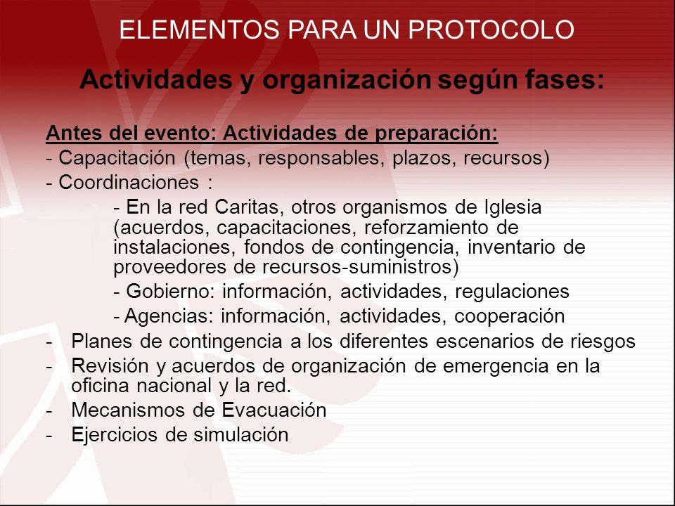 ELEMENTOS PARA UN PROTOCOLO Actividades y organización según fases: Antes del evento: Actividades de preparación: - Capacitación (temas, responsables, plazos, recursos) - Coordinaciones : - En la red Caritas, otros organismos de Iglesia (acuerdos, capacitaciones, reforzamiento de instalaciones, fondos de contingencia, inventario de proveedores de recursos-suministros) - Gobierno: información, actividades, regulaciones - Agencias: información, actividades, cooperación -Planes de contingencia a los diferentes escenarios de riesgos -Revisión y acuerdos de organización de emergencia en la oficina nacional y la red.
