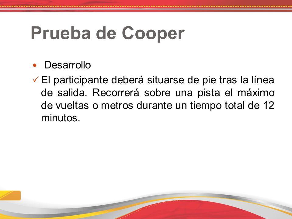 Prueba de Cooper Desarrollo El participante deberá situarse de pie tras la línea de salida.