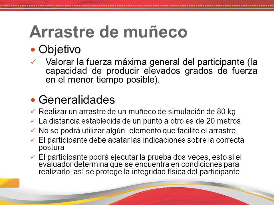 Arrastre de muñeco Objetivo Valorar la fuerza máxima general del participante (la capacidad de producir elevados grados de fuerza en el menor tiempo posible).
