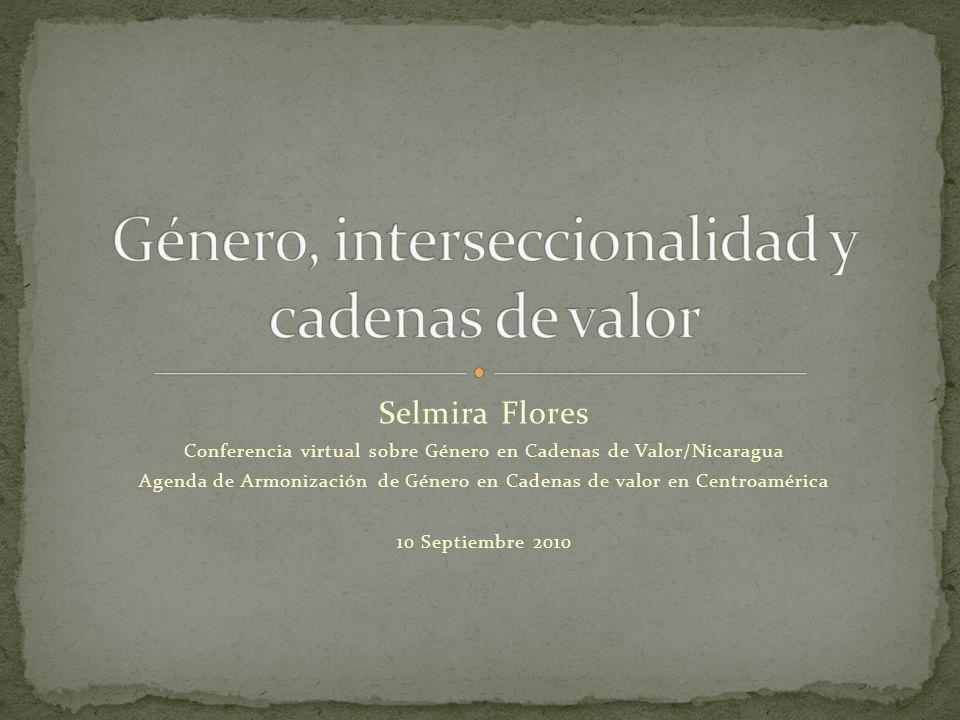 Selmira Flores Conferencia virtual sobre Género en Cadenas de Valor/Nicaragua Agenda de Armonización de Género en Cadenas de valor en Centroamérica 10 Septiembre 2010