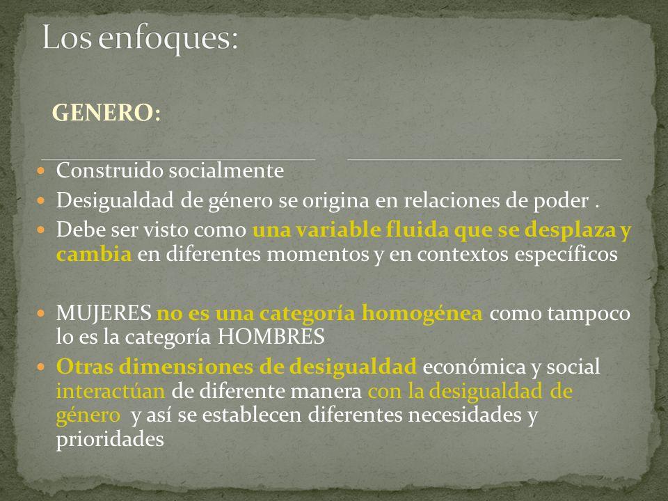 GENERO: Construido socialmente Desigualdad de género se origina en relaciones de poder.