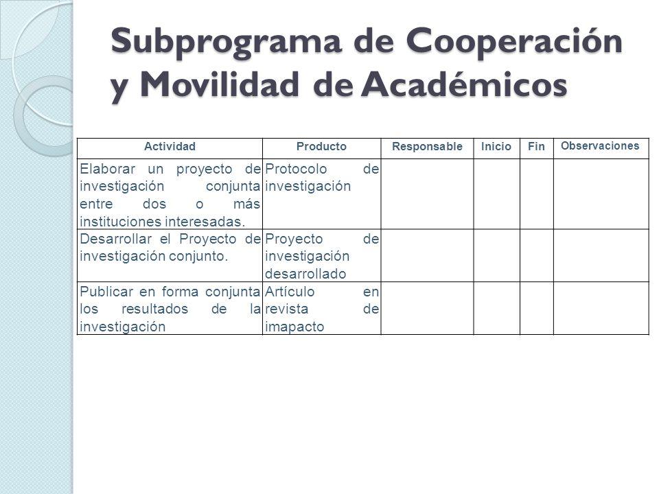 Subprograma de Cooperación y Movilidad de Académicos ActividadProductoResponsableInicioFin Observaciones Elaborar un proyecto de investigación conjunta entre dos o más instituciones interesadas.