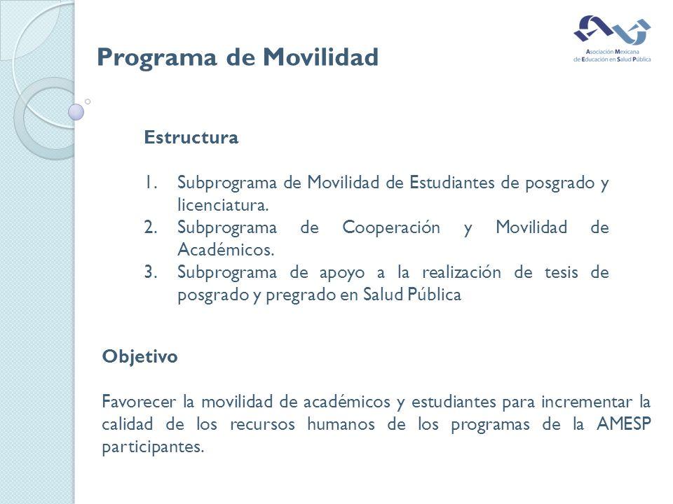 Objetivo Favorecer la movilidad de académicos y estudiantes para incrementar la calidad de los recursos humanos de los programas de la AMESP participantes.